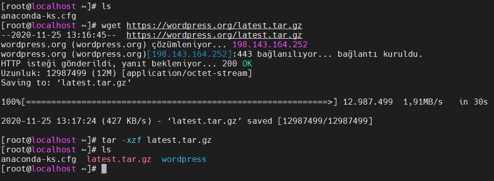 Wordpress'in indirilmesi ve tarball'ın açılması