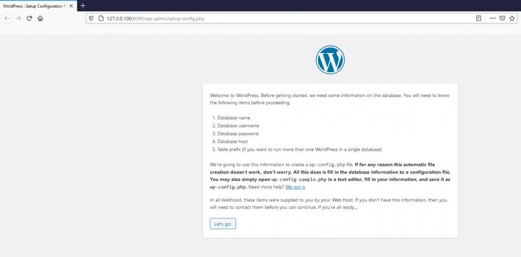 Wordpress kurulum ekranı