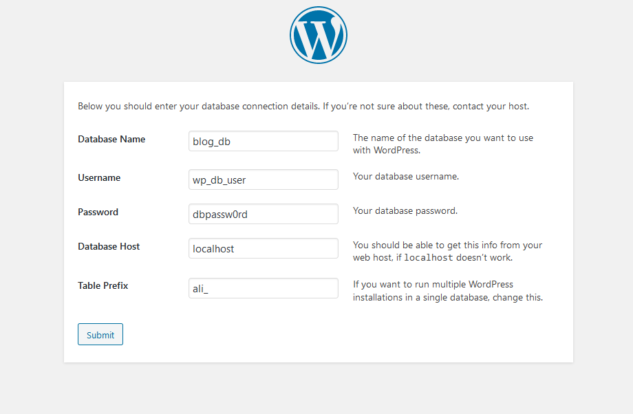 Wordpress kurulumu konigürasyon ekranı
