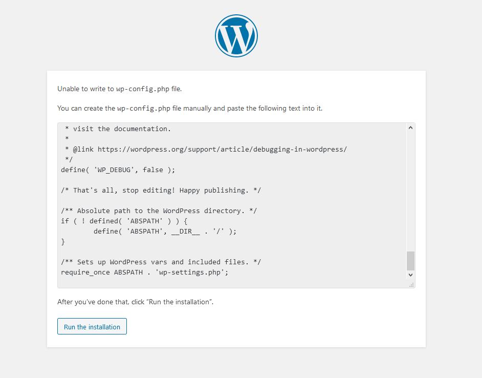 wp-config.php yazma hatası