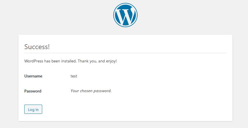 Wordpress kurulum sonu