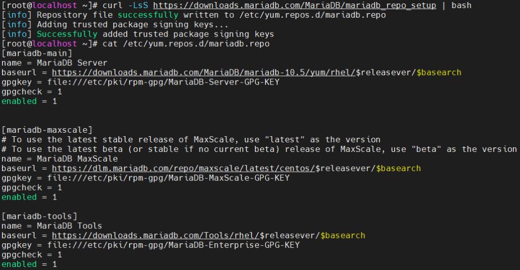 MariaDB repolarının eklenmesi
