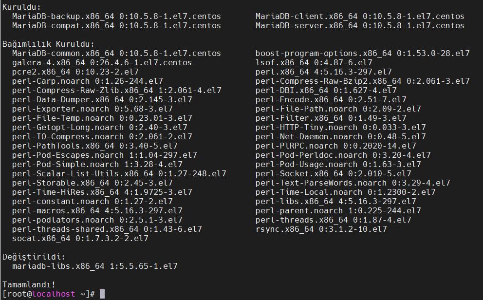 MariaDB paketleri yükleme sonucu
