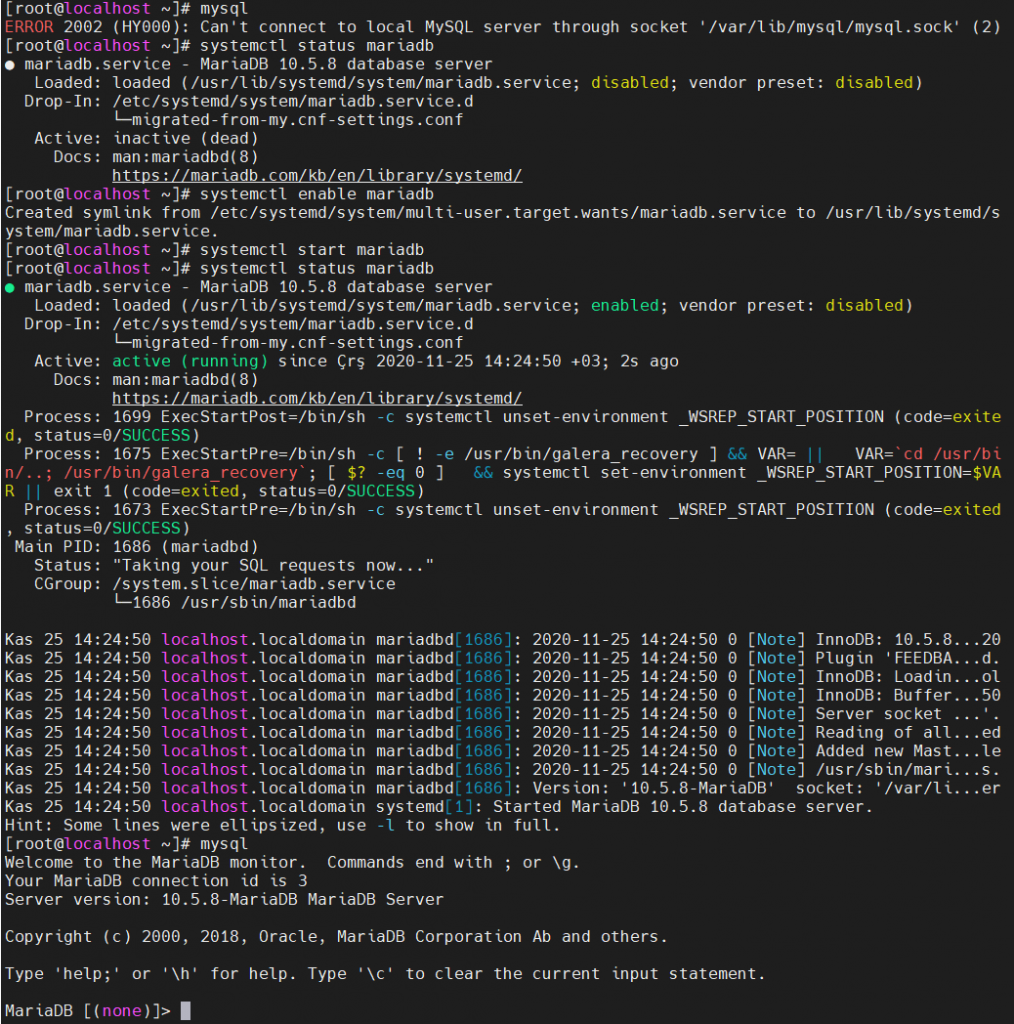 MariaDB servisinin durum kontrolü, enable edilmesi ve başlatılması.