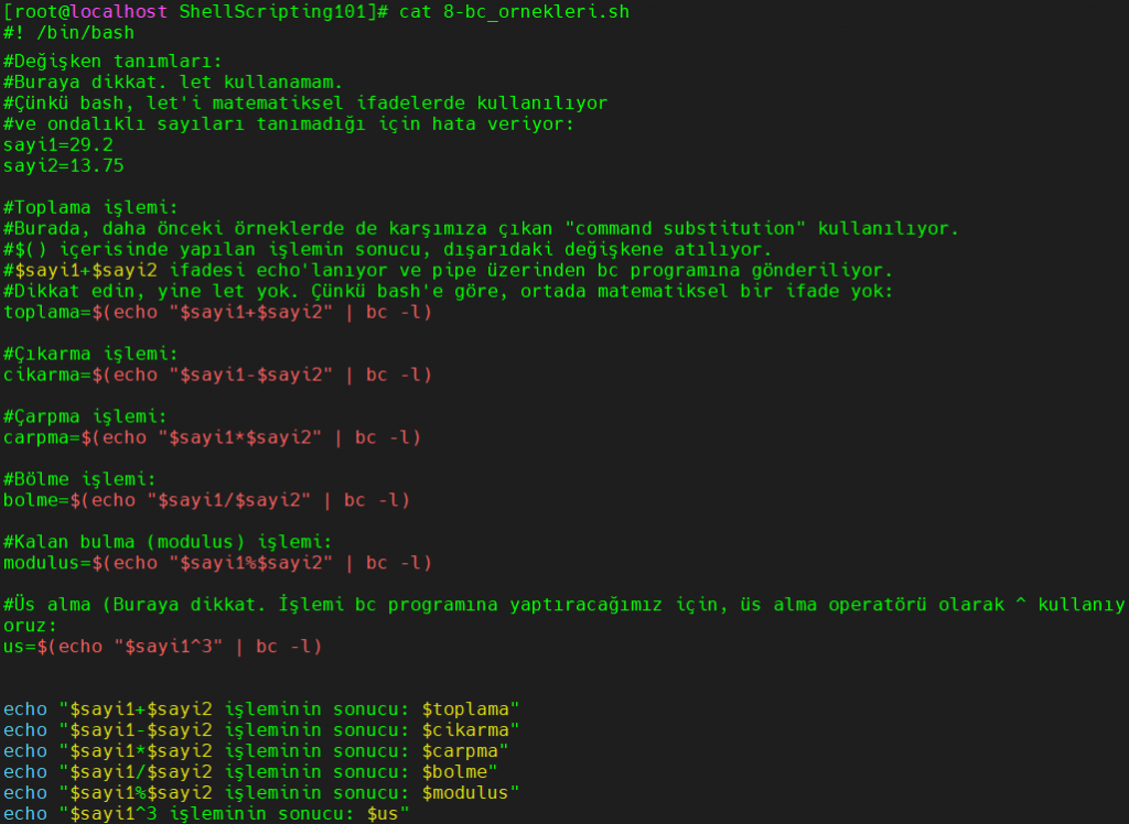 Bash ortamında bc yardımıyla ondalıklı sayılarda işlemler