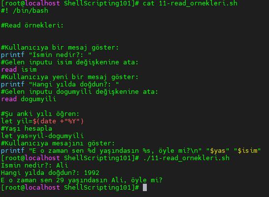 read ifadesi ile interaktif shell script örneği