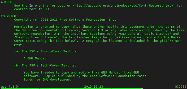 GCC yazar ve lisans bilgileri (GCC 4.8.5 man sayfasından)