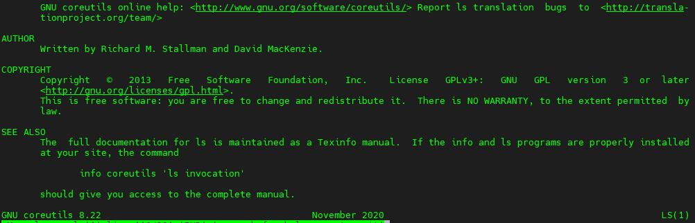 ls yazar ve lisans bilgileri (coreutils 8.22 man sayfasından)